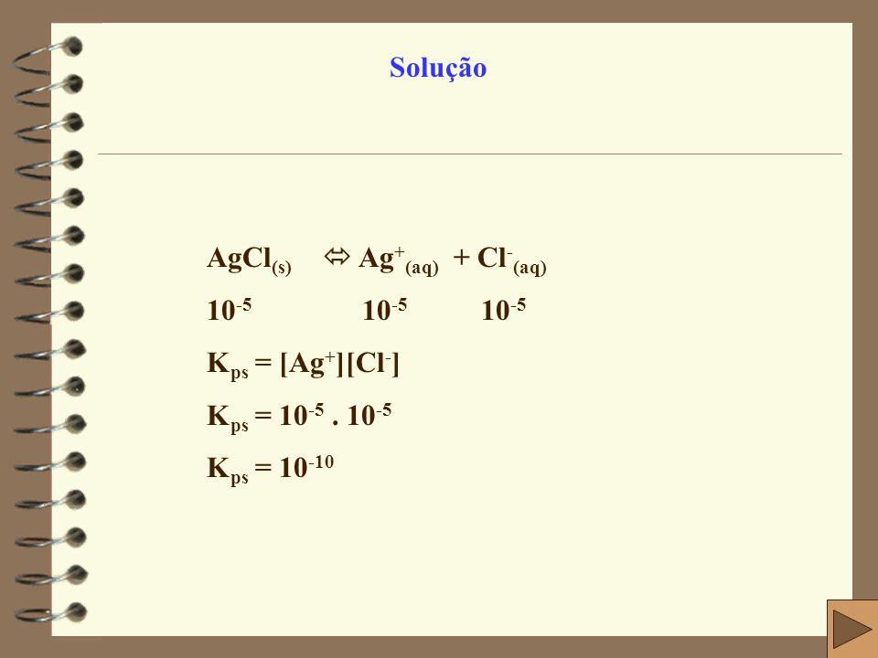 Solução AgCl(s)  Ag+(aq) + Cl-(aq) 10-5 10-5 10-5. Kps = [Ag+][Cl-] Kps = 10-5 . 10-5.